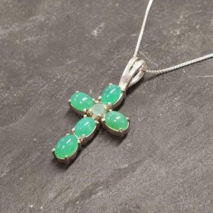 Shop Chrysoprase Pendants! Cross Pendant, Natural Chrysoprase, Cross Charm, Birthstone Pendant, Christian Pendant, Green Cross, Christmas Pendant, 925 Silver Pendant | Natural genuine Chrysoprase pendants. Buy crystal jewelry, handmade handcrafted artisan jewelry for women.  Unique handmade gift ideas. #jewelry #beadedpendants #beadedjewelry #gift #shopping #handmadejewelry #fashion #style #product #pendants #affiliate #ad