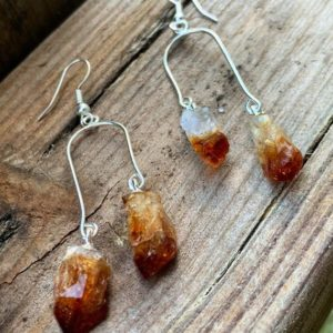 Shop Citrine Stones & Crystals! Citrine Point Gemstone Earrings | Natural genuine stones & crystals in various shapes & sizes. Buy raw cut, tumbled, or polished gemstones for making jewelry or crystal healing energy vibration raising reiki stones. #crystals #gemstones #crystalhealing #crystalsandgemstones #energyhealing #affiliate #ad