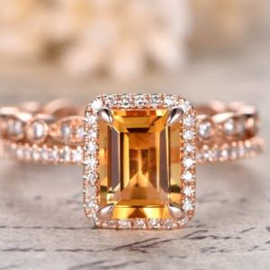 Shop Citrine Rings! Citrine Ring Bridal Set 6x8mm Emerald Cut Citrine Ring and Diamond Wedding Band Half Eternity band Bridal Wedding ring set 14K Rose Gold | Natural genuine Citrine rings, simple unique alternative gemstone engagement rings. #rings #jewelry #bridal #wedding #jewelryaccessories #engagementrings #weddingideas #affiliate #ad