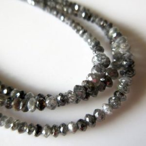 Shop Diamond Chip & Nugget Beads! 7 Inches Natural Gray Black Rough Diamond Beads, Faceted Diamond Beads, Rare Salt And Pepper Raw Rough Diamonds, 4-5mm To 2mm Each, SKU-DF55 | Natural genuine chip Diamond beads for beading and jewelry making.  #jewelry #beads #beadedjewelry #diyjewelry #jewelrymaking #beadstore #beading #affiliate #ad