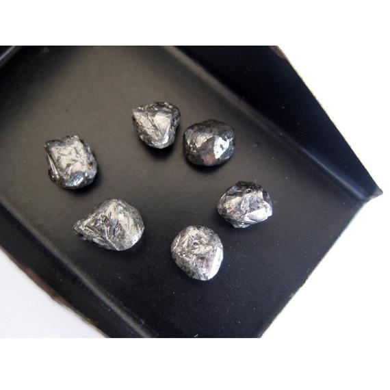 6mm Approx, Black Diamond Crystal, Raw Diamond, Rough Diamond, Uncut Diamond, Loose Diamond Crystal For Jewelry (1pc To 2pc Options)
