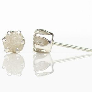 5mm Post Earrings White Rough Diamond Studs on Sterling Silver – White Uncut Raw Diamonds Conflict Free – Ear Studs – April Birthstone   Natural genuine Array earrings. Buy crystal jewelry, handmade handcrafted artisan jewelry for women.  Unique handmade gift ideas. #jewelry #beadedearrings #beadedjewelry #gift #shopping #handmadejewelry #fashion #style #product #earrings #affiliate #ad
