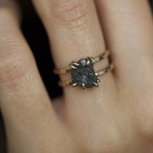 Double Band Rustic Raw Black Diamond Alternative Engagement Ring. Raw Diamond Ring. Black Diamond Ring. Double Band Raw Diamond Ring. | Natural genuine Array rings, simple unique alternative gemstone engagement rings. #rings #jewelry #bridal #wedding #jewelryaccessories #engagementrings #weddingideas #affiliate #ad