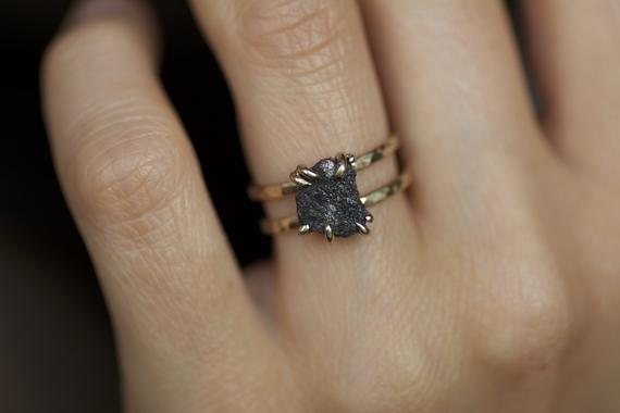 Double Band Rustic Raw Black Diamond Alternative Engagement Ring. Raw Diamond Ring. Black Diamond Ring. Double Band Raw Diamond Ring.