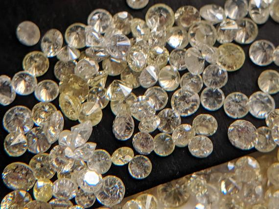 0.5-1.5mm White & Yellow Round Brilliant Cut Melee Diamonds, Solitaire Faceted Natural Loose Accent Diamonds(10 Pcs To 40 Pcs Option)-ppd445