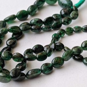 Shop Emerald Chip & Nugget Beads! 3-6.5mm Emerald Plain Oval Bead, Original Green Emerald Oval Nugget Beads, 26 Pcs Emerald Necklace, 5 Inch Emerald Beads For Jewelry – APH18 | Natural genuine chip Emerald beads for beading and jewelry making.  #jewelry #beads #beadedjewelry #diyjewelry #jewelrymaking #beadstore #beading #affiliate #ad