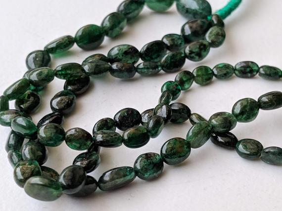 3-6.5mm Emerald Plain Oval Bead, Original Green Emerald Oval Nugget Beads, 26 Pcs Emerald Necklace, 5 Inch Emerald Beads For Jewelry - Aph18