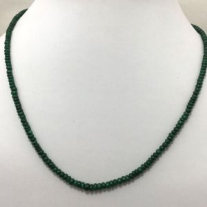 """Shop Emerald Necklaces! 85 Carat Emerald Plain Smooth rondelle 3 to 4.5mm 18""""/Precious Beads/Gemstone Beads/Emerald Beaded Necklace/Rondelle Beads 