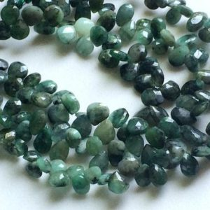 Shop Emerald Bead Shapes! 6x8mm Emerald Faceted Pear Beads, Natural Emerald Pear Briolettes, Original Emerald Faceted Pear For Necklace (3.5IN To 7IN Option) – AGA133 | Natural genuine other-shape Emerald beads for beading and jewelry making.  #jewelry #beads #beadedjewelry #diyjewelry #jewelrymaking #beadstore #beading #affiliate #ad