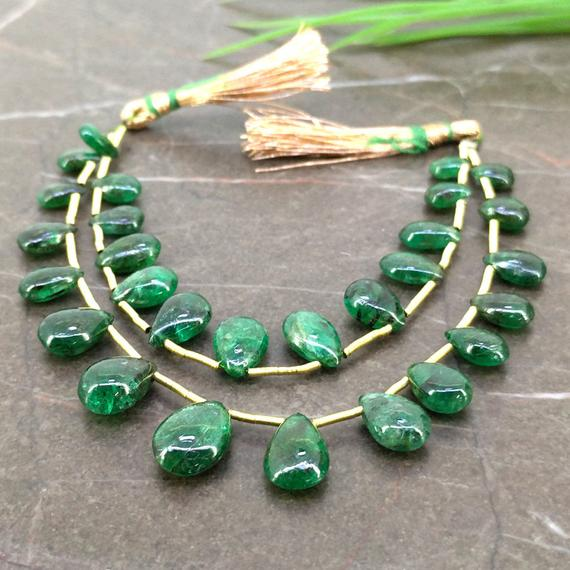 Natural Emerald 11-31mm Smooth Pear Shape Gemstone Beads / Approx. 9 Pieces On 7 Inch Long Layout / Jbc-et-156881