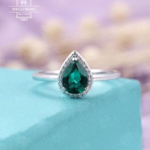 Pear cut Emerald engagement ring, Vintage engagement ring Art deco Unique Wedding ring, Diamond Halo set Bridal Anniversary Promise ring | Natural genuine Array rings, simple unique alternative gemstone engagement rings. #rings #jewelry #bridal #wedding #jewelryaccessories #engagementrings #weddingideas #affiliate #ad