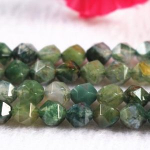 """Shop Moss Agate Beads! Faceted Nugget Moss Agate Beads,6mm 8mm 10mm Star Cut Faceted Moss Agate Beads,Agate beads supply.15"""" strand 