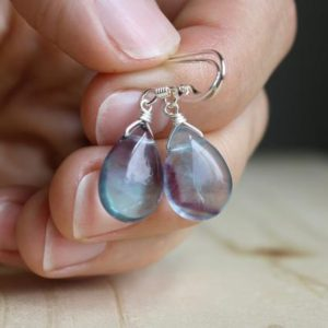 Rainbow Fluorite Earrings . Simple Teardrop Earrings Stone . Fluorite Crystal Earrings Drop . Mental Health Jewelry | Natural genuine Gemstone jewelry. Buy crystal jewelry, handmade handcrafted artisan jewelry for women.  Unique handmade gift ideas. #jewelry #beadedjewelry #beadedjewelry #gift #shopping #handmadejewelry #fashion #style #product #jewelry #affiliate #ad