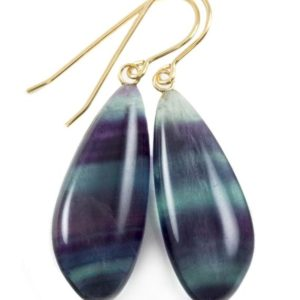 Shop Fluorite Earrings! Fluorite Earrings Smooth Teardrop 14k solid gold or filled or Sterling silver Flourite Natural Purple Green Teal Striped Curved Cut Drops | Natural genuine Fluorite earrings. Buy crystal jewelry, handmade handcrafted artisan jewelry for women.  Unique handmade gift ideas. #jewelry #beadedearrings #beadedjewelry #gift #shopping #handmadejewelry #fashion #style #product #earrings #affiliate #ad