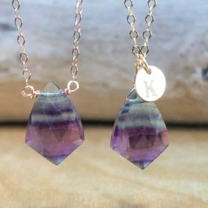 Shop Fluorite Jewelry! Rainbow Fluorite Necklace – Fluorite Pendant – Personalized Fluorite Necklace in Silver, Gold or Rose Gold – Chakra Crystal Necklace | Natural genuine Fluorite jewelry. Buy crystal jewelry, handmade handcrafted artisan jewelry for women.  Unique handmade gift ideas. #jewelry #beadedjewelry #beadedjewelry #gift #shopping #handmadejewelry #fashion #style #product #jewelry #affiliate #ad