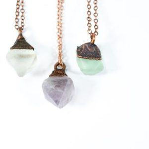 Raw fluorite necklace | Rough fluorite jewelry | Fluorite crystal pendant | Flourite octahedron jewelry | Purple fluorite | Green Fluorite | Natural genuine Fluorite pendants. Buy crystal jewelry, handmade handcrafted artisan jewelry for women.  Unique handmade gift ideas. #jewelry #beadedpendants #beadedjewelry #gift #shopping #handmadejewelry #fashion #style #product #pendants #affiliate #ad