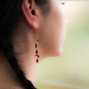 Garnet Earrings, Red Garnet Dangle Earrings, Natural Garnet Drop Earrings, Garnet Gold Earrings, Gemstone Earrings, Long Earrings | Natural genuine Array jewelry. Buy crystal jewelry, handmade handcrafted artisan jewelry for women.  Unique handmade gift ideas. #jewelry #beadedjewelry #beadedjewelry #gift #shopping #handmadejewelry #fashion #style #product #jewelry #affiliate #ad
