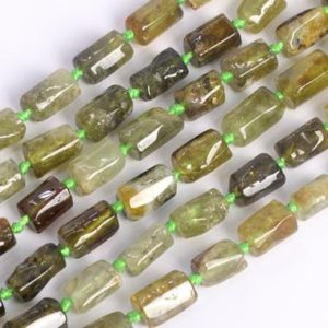 Shop Garnet Faceted Beads! Genuine Natural Green Garnet Loose Beads Grade AAA Faceted Nugget Rectangle Tube Shape 6-9mm | Natural genuine faceted Garnet beads for beading and jewelry making.  #jewelry #beads #beadedjewelry #diyjewelry #jewelrymaking #beadstore #beading #affiliate #ad