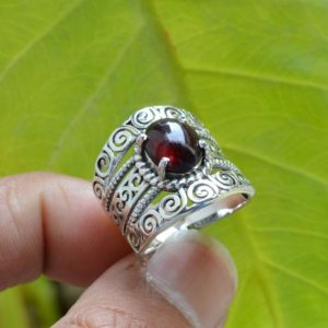 Shop Garnet Rings! Natural Garnet Ring, Oxidized Ring, 925 Silver Rings, Women Rings, 8×10 mm Oval Garnet Ring, Red Garnet Ring, Gemstone Ring, Garnet Ring | Natural genuine Garnet rings, simple unique handcrafted gemstone rings. #rings #jewelry #shopping #gift #handmade #fashion #style #affiliate #ad