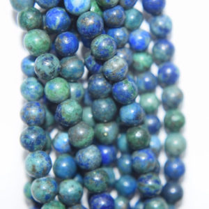 "Shop Azurite Round Beads! Genuine Azurite Malachite Beads – Round 4 Mm (4.2 Mm) Gemstone Beads – Full Strand 15 1 / 2"", 85 Beads, A Quality 