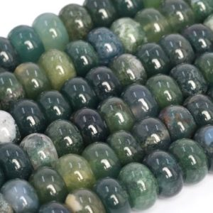 Shop Moss Agate Beads! Genuine Natural Botanical Moss Agate Loose Beads Rondelle Shape 6x4mm 8x5mm | Natural genuine beads Moss Agate beads for beading and jewelry making.  #jewelry #beads #beadedjewelry #diyjewelry #jewelrymaking #beadstore #beading #affiliate #ad