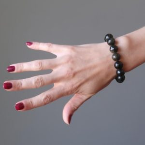 Shop Golden Obsidian Bracelets! Gold Sheen Obsidian Bracelet Midnight Twinkle Faceted Protection Stone | Natural genuine Golden Obsidian bracelets. Buy crystal jewelry, handmade handcrafted artisan jewelry for women.  Unique handmade gift ideas. #jewelry #beadedbracelets #beadedjewelry #gift #shopping #handmadejewelry #fashion #style #product #bracelets #affiliate #ad