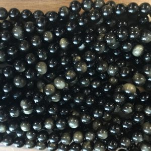 """Golden Obsidian 6mm 8mm 10mm 12mm 14mm round gemstone beads–15.5"""" 