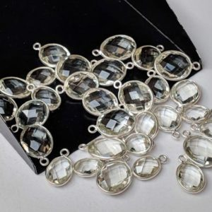 Shop Green Amethyst Beads! 11.5-14.5mm Green Amethyst Rose Cut Oval Bezel Connectors, 5 Pcs Natural Green Amethyst Both Side Faceted 925 Silver Bezel Findings -PSG72 | Natural genuine faceted Green Amethyst beads for beading and jewelry making.  #jewelry #beads #beadedjewelry #diyjewelry #jewelrymaking #beadstore #beading #affiliate #ad