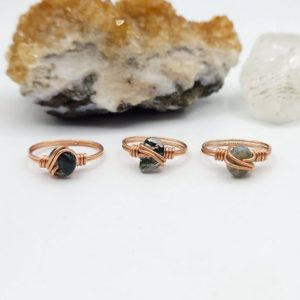Shop Moss Agate Rings! Green Moss Agate Ring, Copper Wire Wrapped Ring   Natural genuine Moss Agate rings, simple unique handcrafted gemstone rings. #rings #jewelry #shopping #gift #handmade #fashion #style #affiliate #ad