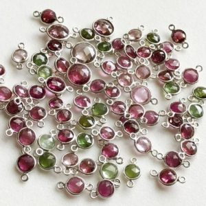 Shop Green Tourmaline Beads! 11-12mm Pink & Green Tourmaline Bezel Connectors, Tourmaline Faceted Round Both Side Cut 925 Silver Bezel Findings  ( 5Pcs To 10Pcs Options) | Natural genuine faceted Green Tourmaline beads for beading and jewelry making.  #jewelry #beads #beadedjewelry #diyjewelry #jewelrymaking #beadstore #beading #affiliate #ad