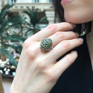 Shop Green Tourmaline Rings! Green Tourmaline Ring, Natural Tourmaline, Cluster Ring, Green Cluster Ring, Green Chunky Ring, Vintage Ring, Berry Ring, Solid Silver Ring | Natural genuine Green Tourmaline rings, simple unique handcrafted gemstone rings. #rings #jewelry #shopping #gift #handmade #fashion #style #affiliate #ad