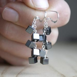 Shop Hematite Earrings! Hematite Earrings Dangle . Anxiety Relief Crystal Earrings . Gemstone Cluster Earrings Silver . Square Earrings | Natural genuine Hematite earrings. Buy crystal jewelry, handmade handcrafted artisan jewelry for women.  Unique handmade gift ideas. #jewelry #beadedearrings #beadedjewelry #gift #shopping #handmadejewelry #fashion #style #product #earrings #affiliate #ad