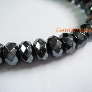 Shop Hematite Beads! 15.5 inch hematite 6x10mm roundel faceted beads, silver black metal color gemstone, stone for man style, high quality DIY jewelry beads | Natural genuine beads Hematite beads for beading and jewelry making.  #jewelry #beads #beadedjewelry #diyjewelry #jewelrymaking #beadstore #beading #affiliate #ad