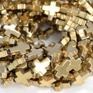 "Shop Hematite Bead Shapes! 10x8MM Champagne Gold Hematite Beads Cross Grade AAA Natural Gemstone Half Strand Loose Beads 7.5"" BULK LOT 1,3,5,10 and 50 (104908h-1320) 