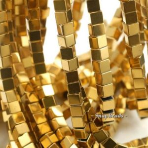 Shop Hematite Bead Shapes! 6mm Hematite Gemstone Gold Square Cube 6x6mm Loose Beads 15.5 inch Full Strand (90114807-339) | Natural genuine other-shape Hematite beads for beading and jewelry making.  #jewelry #beads #beadedjewelry #diyjewelry #jewelrymaking #beadstore #beading #affiliate #ad
