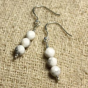 Shop Howlite Earrings! Earrings 925 Silver – 6mm faceted Howlite | Natural genuine Howlite earrings. Buy crystal jewelry, handmade handcrafted artisan jewelry for women.  Unique handmade gift ideas. #jewelry #beadedearrings #beadedjewelry #gift #shopping #handmadejewelry #fashion #style #product #earrings #affiliate #ad