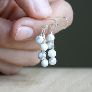 Shop Howlite Earrings! White Howlite Earrings . Natural Stone Earrings Dangle White . Anxiety Relief Earrings | Natural genuine Howlite earrings. Buy crystal jewelry, handmade handcrafted artisan jewelry for women.  Unique handmade gift ideas. #jewelry #beadedearrings #beadedjewelry #gift #shopping #handmadejewelry #fashion #style #product #earrings #affiliate #ad
