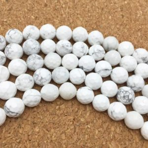 Shop Howlite Faceted Beads! 10mm Faceted White Howlite Beads, Round Gemstone Beads, Wholesale Beads | Natural genuine faceted Howlite beads for beading and jewelry making.  #jewelry #beads #beadedjewelry #diyjewelry #jewelrymaking #beadstore #beading #affiliate #ad