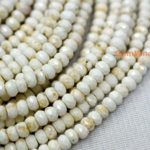 """Shop Howlite Beads! 15.5"""" 3x5mm/5x8mm Cream White howlite roundel faceted, Ivory white color rondelle faceted beads,white Gemstone, beads wholesaler SGXO 
