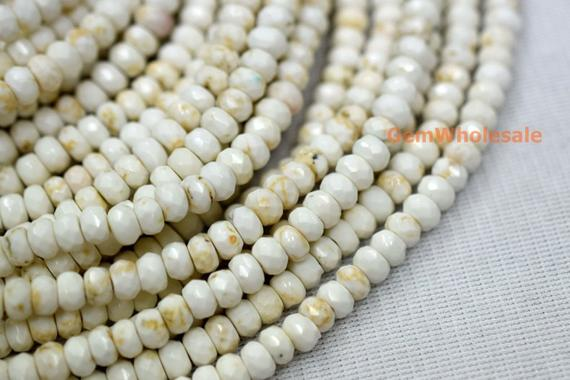"""15.5"""" 3x5mm/5x8mm Cream White Howlite Roundel Faceted, Ivory White Color Rondelle Faceted Beads,white Gemstone, Beads Wholesaler Sgxo"""