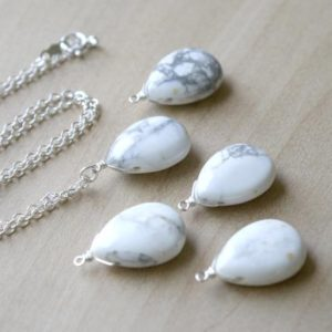 White Howlite Necklace . Stress Relief Gifts . Calming Stone Necklace . White Teardrop Necklace | Natural genuine Howlite necklaces. Buy crystal jewelry, handmade handcrafted artisan jewelry for women.  Unique handmade gift ideas. #jewelry #beadednecklaces #beadedjewelry #gift #shopping #handmadejewelry #fashion #style #product #necklaces #affiliate #ad