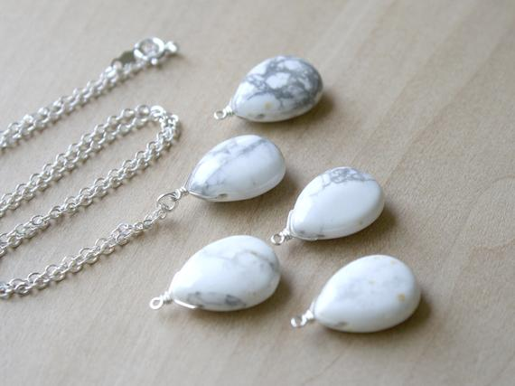 White Howlite Necklace . Stress Relief Gifts . Calming Stone Necklace . White Teardrop Necklace