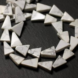 Shop Howlite Bead Shapes! 10pc – stone beads – Howlite Triangles 9-12mm – 8741140012196 | Natural genuine other-shape Howlite beads for beading and jewelry making.  #jewelry #beads #beadedjewelry #diyjewelry #jewelrymaking #beadstore #beading #affiliate #ad