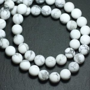 Shop Howlite Bead Shapes! Wire 39cm 65pc env – stone beads – Howlite balls 6 mm frosted matte | Natural genuine other-shape Howlite beads for beading and jewelry making.  #jewelry #beads #beadedjewelry #diyjewelry #jewelrymaking #beadstore #beading #affiliate #ad