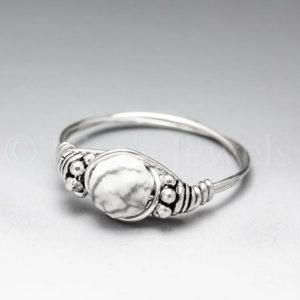 Shop Howlite Rings! White Howlite Faceted Bali Sterling Silver Wire Wrapped Gemstone BEAD Ring – Made to Order, Ships Fast! | Natural genuine Howlite rings, simple unique handcrafted gemstone rings. #rings #jewelry #shopping #gift #handmade #fashion #style #affiliate #ad