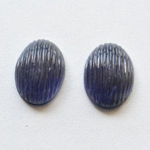 Shop Iolite Shapes! Iolite Gemstone Carving, 10x14mm, Hand Carved, Gemstone Engraving, Matched Pair, Iolite Stone Carving, Gemstone For Jewelry Making | Natural genuine stones & crystals in various shapes & sizes. Buy raw cut, tumbled, or polished gemstones for making jewelry or crystal healing energy vibration raising reiki stones. #crystals #gemstones #crystalhealing #crystalsandgemstones #energyhealing #affiliate #ad