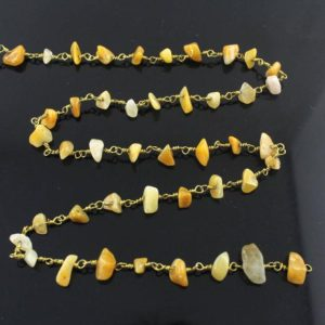 Shop Jade Chip & Nugget Beads! 10 feet Natural Yellow Jade Chip Chain, Gold Plated Wire Wrapped Rosary Chains, Bulk chains,Jewelry making –CN010 | Natural genuine chip Jade beads for beading and jewelry making.  #jewelry #beads #beadedjewelry #diyjewelry #jewelrymaking #beadstore #beading #affiliate #ad