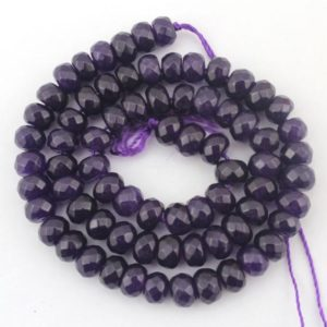 """Shop Jade Faceted Beads! Jade Faceted Beads Purple beads stones strand Jade beads – 5mmx8mm — about 80Pieces – jade beads— 15"""" in length–EBT95 