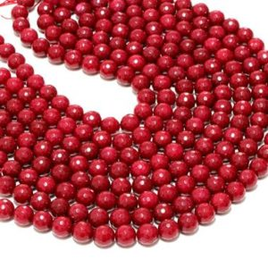 """CLEARANCE SALE – Jade beads on sale,red jade,faceted beads,round beads,red necklace beads,wholesale beads,craft supplies – 16"""" Full Strand 