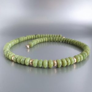 Shop Jade Necklaces! Green Jade necklace with gold and magnet clasp unique gift for her – natural genuine olive green gemstone – 12 year anniversary | Natural genuine Jade necklaces. Buy crystal jewelry, handmade handcrafted artisan jewelry for women.  Unique handmade gift ideas. #jewelry #beadednecklaces #beadedjewelry #gift #shopping #handmadejewelry #fashion #style #product #necklaces #affiliate #ad